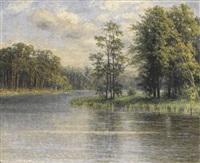 sommerliche landschaft am flußufer by margarete von baczko