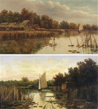 ranworth broad; on wroxham broad (pair) by percy lionel