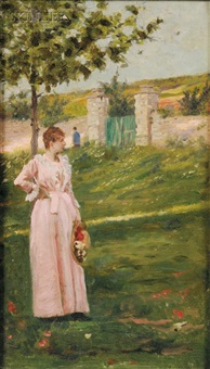 portrait of a woman in a landscape by charles stanley reinhart