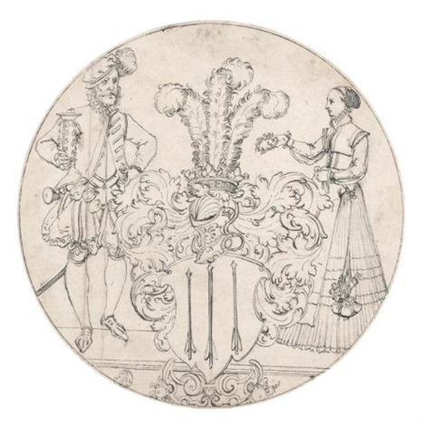 A man and a woman flanking a coat-of-arms design for a