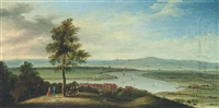 an extensive river landscape, with boats on the river and elegant company conversing in the foreground by peter tillemans
