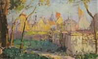 a view of bruges in summer by adrien jean le mayeur de merprés