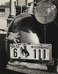 wyoming license plate (+ arizona café, san francisco; 2 works) by john gutmann