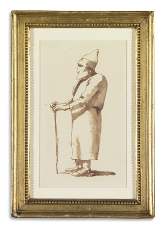 caricature of a man facing left with a stick by giovanni battista tiepolo