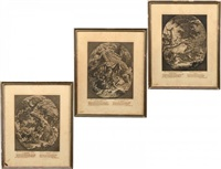 the seasons of the hunter (3 works) by johann elias ridinger