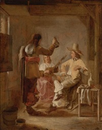 two soldiers and a girl with a lute by hendrick van der burch