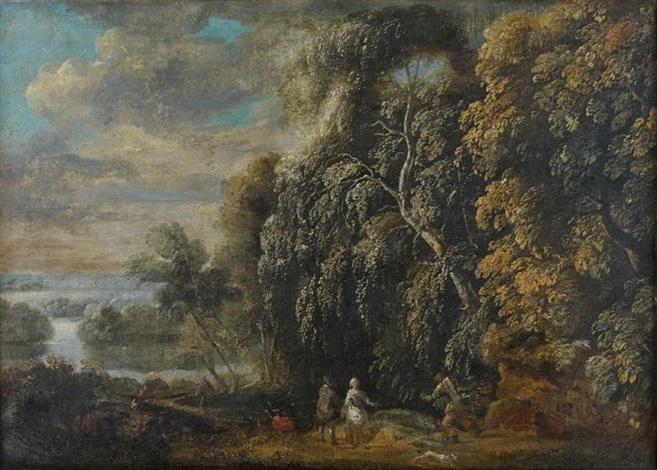 personnages dans un paysage by jacques d arthois