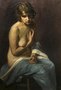 seated nude by christian von schneidau