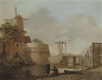 a river landscape with anglers on a bank by jan ten compe