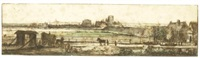 a panoramic landscape, with amsterdam in the distance by johannes ruyscher