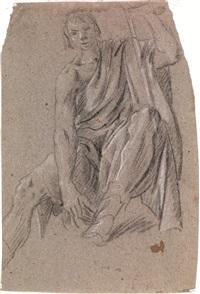 studio di figura maschile; studio di panneggio (double-sided) by giovanni lanfranco