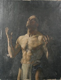 a gladiator, half length, study of a male figure by jessie i. dunlop