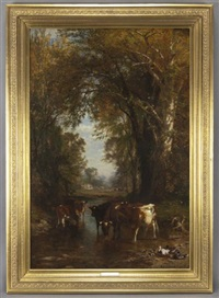 wooded landscape with cattle watering by james mcdougal hart