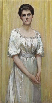 portrait of a lady, thought to be lady ailand, three-quarter-length, in white dress by florence veric hardy small