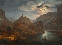 ideal fluvial landscape in moonlight by wilhelm ferdinand xylander