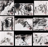compositions (9 works in triptych) by t'ang haywen