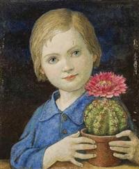 mädchen mit einem blühenden kaktus in der hand by hans huber-sulzemoos