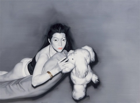 girl with fluffy toy by he sen