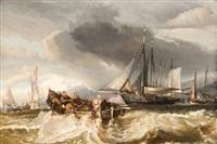 le calfatage (+ pêcheurs en mer; pair) by charles hoguet