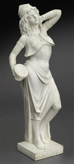 italian carrara marble figure of rebecca at the well by anonymous-italian