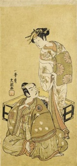 the actors segawa kikunojo ii as tora and ichikawa yaozo ii as soga no juro (hosoban) by ippitsusai buncho