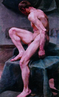 male nude model by angelo comte de courten