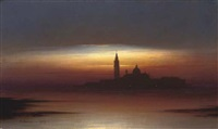 venice from the lagoon, dusk by otto hussell