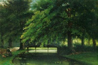 an artist painting in a tranquil river landscape by arnoldus johannes eymer