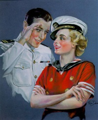 naval officer saluting young woman by mila baine