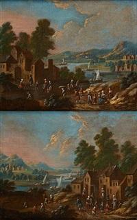 paysages animés sur fond de fleuve (2 works) by flemish school (17)