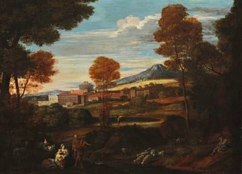 italian landscape with the flight into egypt by nicolas poussin