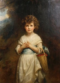 portrait of moira goff as a child, standing in a landscape holding a basket of cherries by mary lemon waller