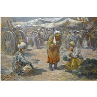 market scene by georgy gabashvili