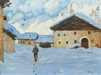 snowy village in the alps by carl arp