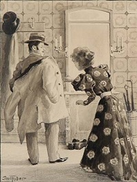 a lady is helping a gentleman with his coat by paul gustave fischer