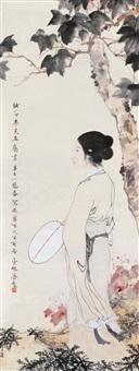 仕女图 立轴 设色纸本 by deng fen