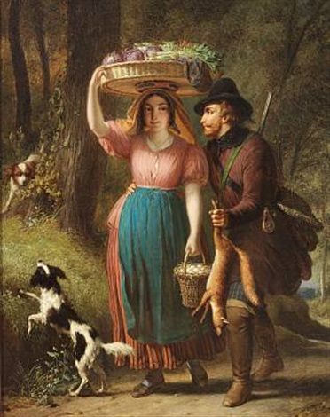 a hunter is flirting with a girl on her way to the market with vegetables and eggs by françois verheyden