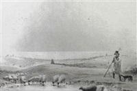shepherd watering his flock (isle of wight?) by frederick william woledge