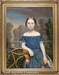 portrait of a girl in blue dress and paisley shawl by american school (19)