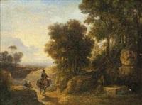 paesaggio con viandanti e fontana by agostino aglio