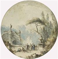 personnages discutant sur les marches d'un monument antique (+ personnages discutant près d'un pont orné de statues; pair) by claude louis châtelet