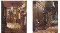 victorian interiors (pair) by victor bachereau-reverchon