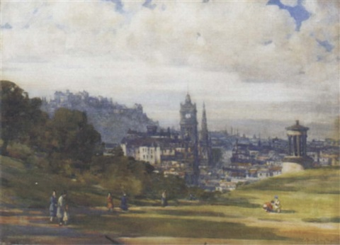 view of edinburgh from calton hill looking down princes street by andrew douglas