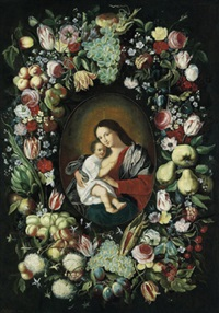 madonna mit kind in einem kranz von blumen und früchten by philippe de marlier