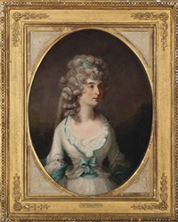 portrait of a lady, half-length, in a white dress with blue trim by john raphael smith