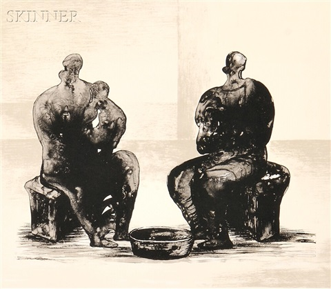 two women bathing a child ii by henry moore