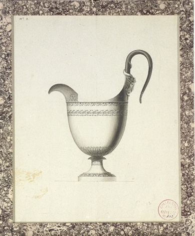 design for a jug with a rams head handle by jean guillaume moitte