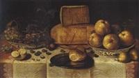 nature morte aux fruits et utensiles sur un entablement by roelof koets the elder