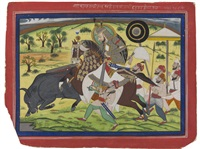maharao ram singh ii hunting buffalo by anonymous-indian (19)