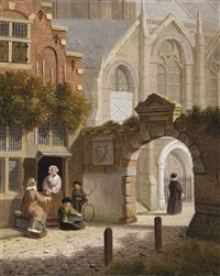 children playing near a towngate by jan hendrik verheyen